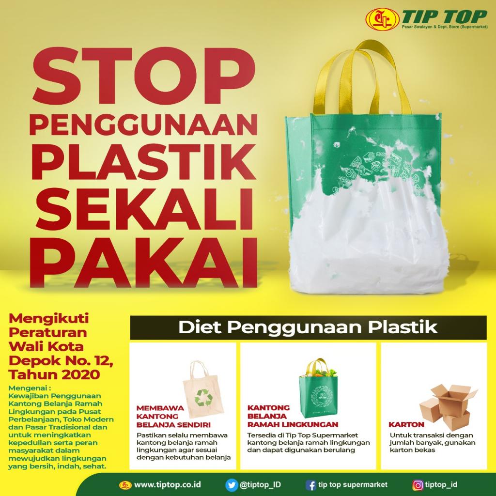 Pengurangan Penggunaan Kantong Belanja Plastik Tip Top Supermarket Depok