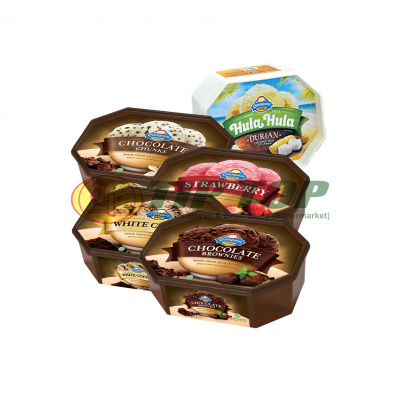 Campina Es Cream Chocolate Chunks | Strawberry | Choco Brownies | Vanila | White Coffee | Hula hula Durian 700ml
