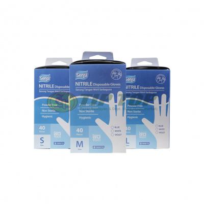 Sensi Nitrile Disposable Gloves Powder Free L40, M40, S40